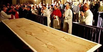 Shroud of Turin is shown in church