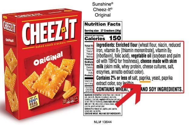 Cheez-Its contain paprika