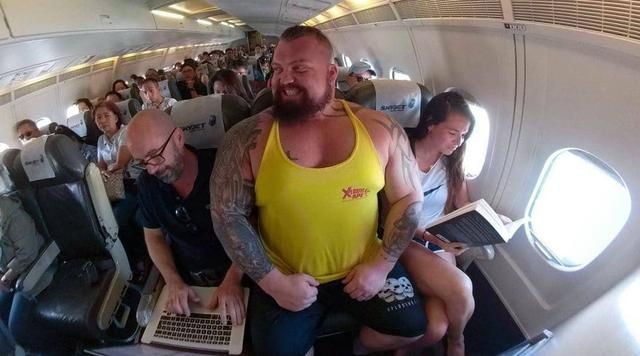 Eddie Hall on the Plane