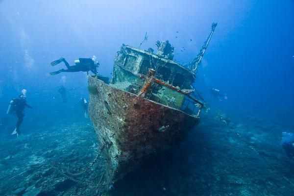a ship wreck resting on the seafloor