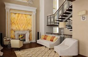 Living Room Interior With Stairs To The Second Floor