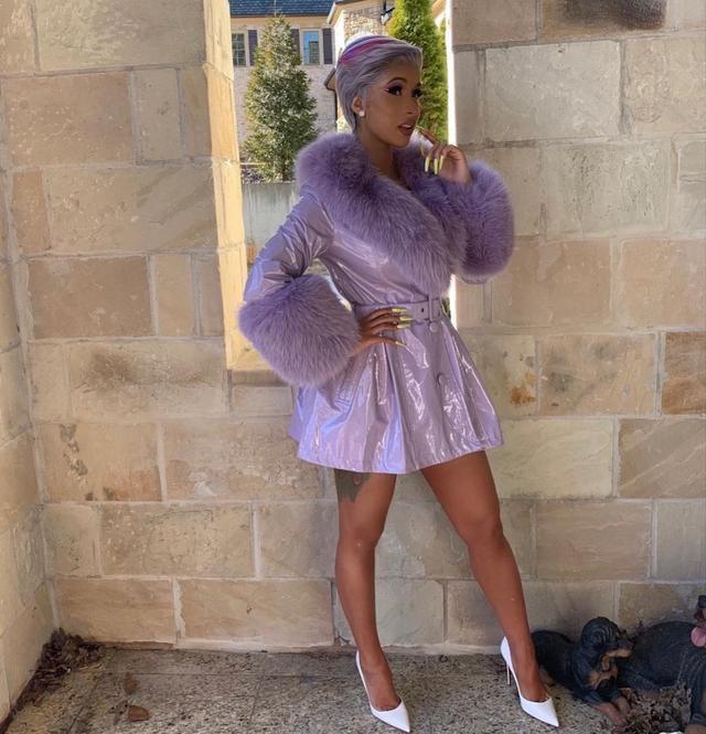 Cardi B Goes Pantless In A Purple Coat & White-Hot Pumps