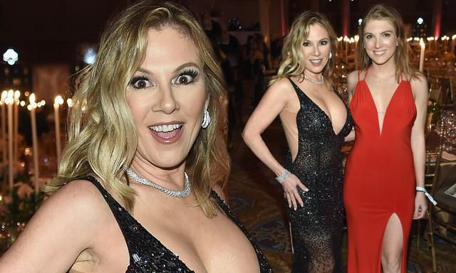 Ramona Singer Offers Up An Eyeful Of Cleavage While Wearing Plunging Black Gown To Amfar Gala With Daughter Avery