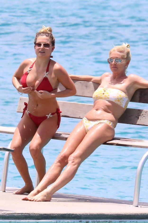 Love Island's Zara Holland Struggles To Contain Bust In Bikini Top As She Holidays With 54-Year-Old Mum Cheryl Hakeney