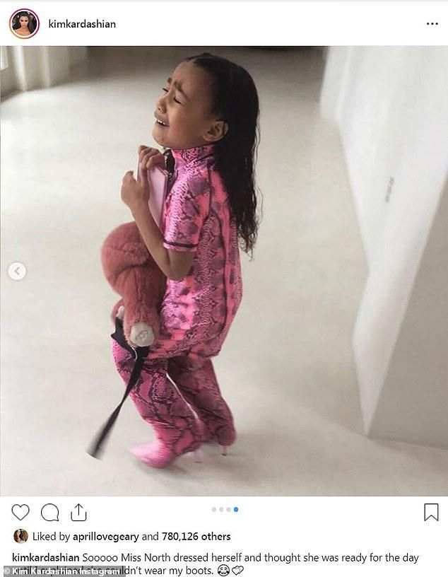 Kim Kardashian shares photos of North disappointed that she 'couldn't wear' her $775 Yeezy boots