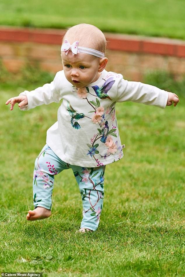Mother is left shocked after her daughter started walking at SIX MONTHS - and claims she skipped the crawling stage completely