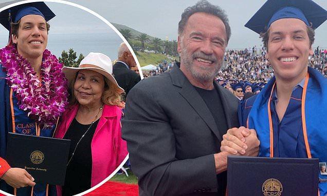 Arnold Schwarzenegger and His Former Mistress Mildred Baena Are Reunited at Christian University in LA, Pepperdine, for Son Joseph's College Graduation Ceremony