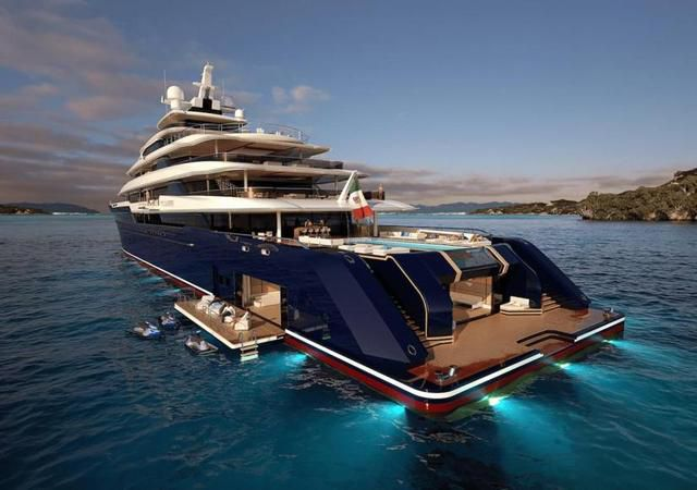 Columbus Yachts has revealed a 120-meter gigayacht project with a waterfall that cascades between two pools
