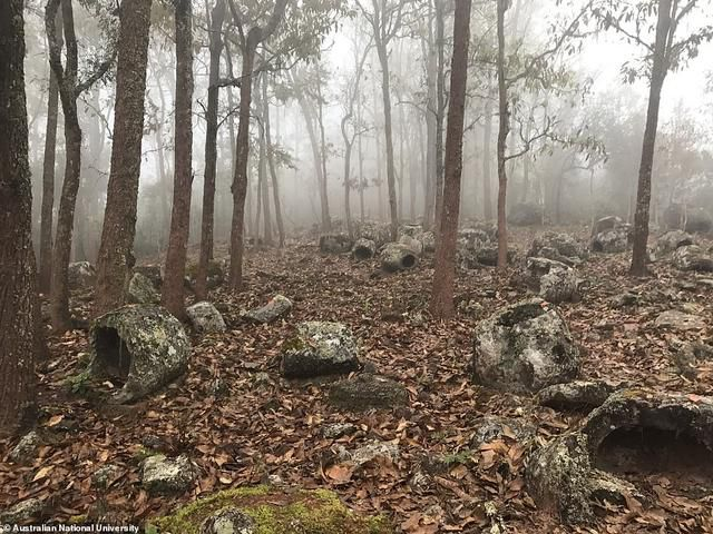 Mystery of the two-ton, 1,000 year old giant stone 'jars of the dead': Researchers find a hundred more prehistoric 'burial urns' that were moved miles to a remote forest in Laos by Iron Age civilization