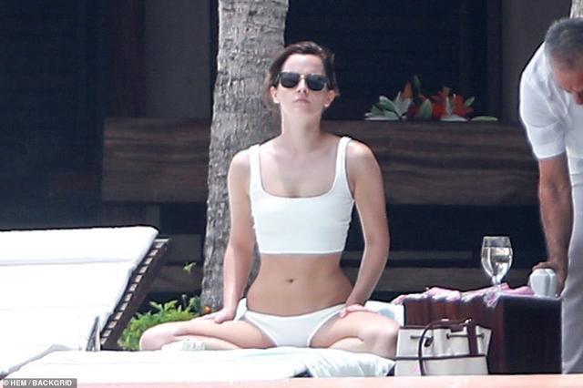 Emma Watson PICTURE EXCLUSIVE: Harry Potter star slips into a white bikini in Mexico