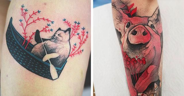 Elegant Animal Tattoos In Psychedelic Colors By A Polish Artist