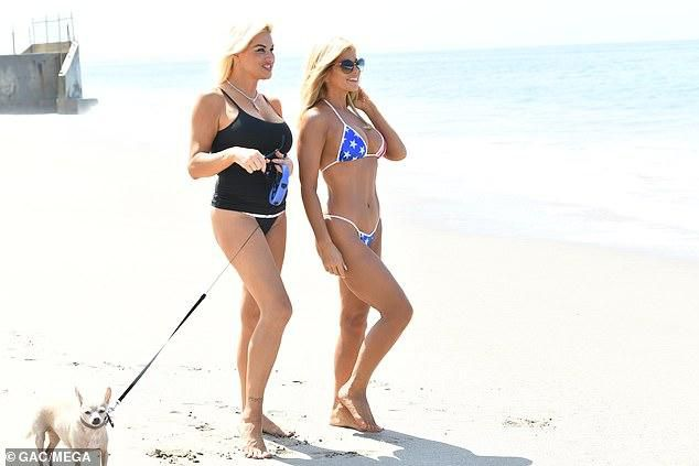 Former Baywatch babe Donna D'Errico, 51, puts her figure on display patriotic bikini for pre-Fourth of July beach fun in Malibu