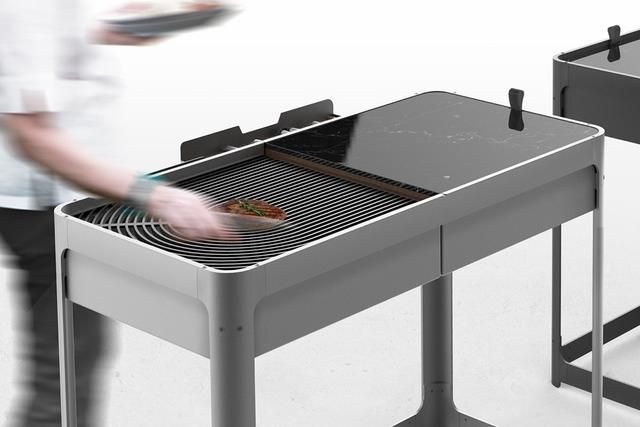 The Domino Barbecue transforms in a jiffy from outdoor furniture to a grill