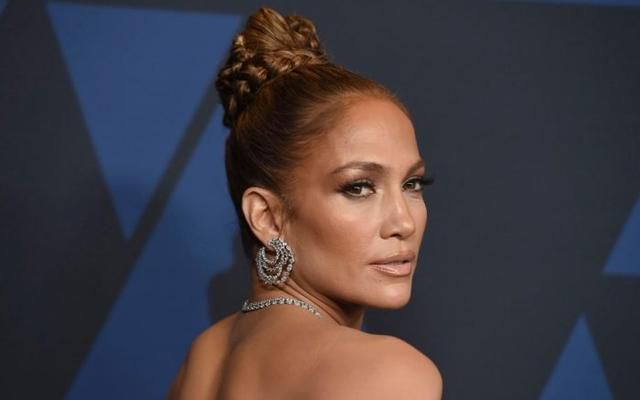 J-Lo Flatters Her Feet in See-Through 4.5-Inch Crystal Heels With a Feathery Minidress