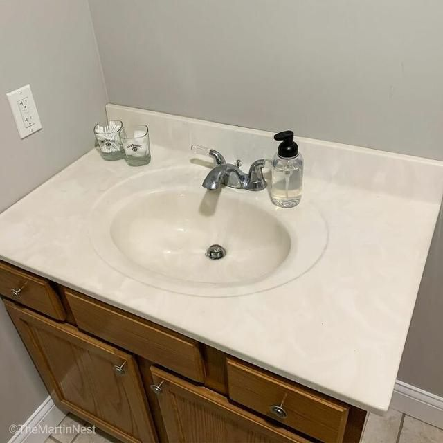 Paint Your Outdated Bathroom Counterop for Less Than $5