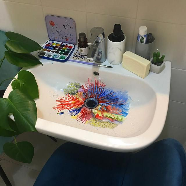 Artist Uses Her Sink As A Canvas And Lets The Water Destroy Her Paintings 24 Hours Later (26 Pics) Interview With Artist