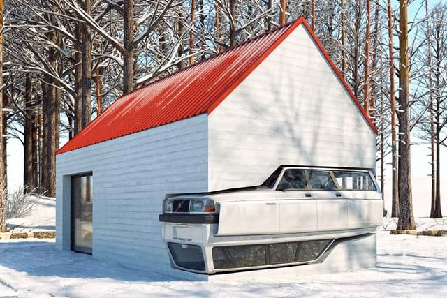 When the vintage Volvo 240 merged with a winter family cabin…