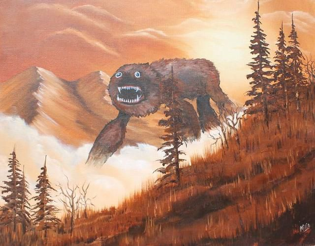Artist Makes Boring Thrift Shop Paintings Come To Life By Adding Monsters
