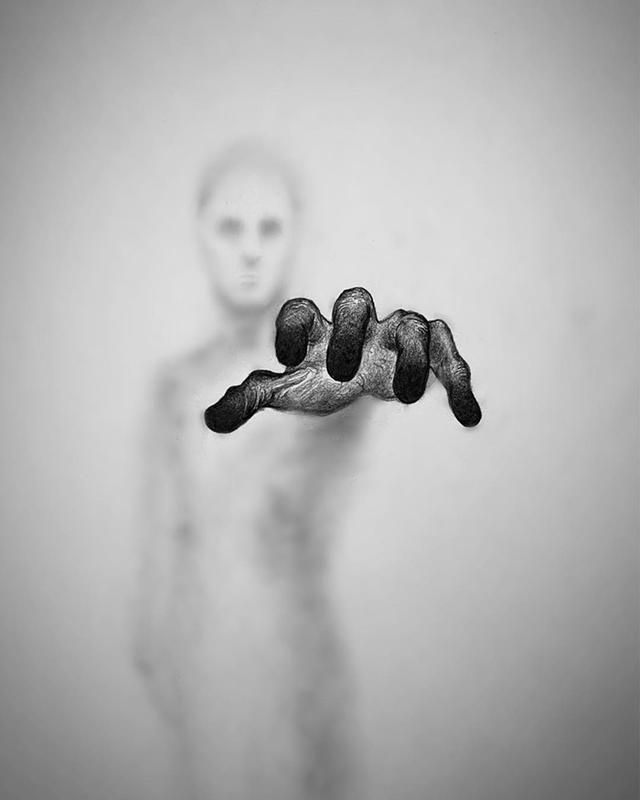28 Drawings Of Ghost-Like Figures That Look Like They're Reaching Out From The Afterlife