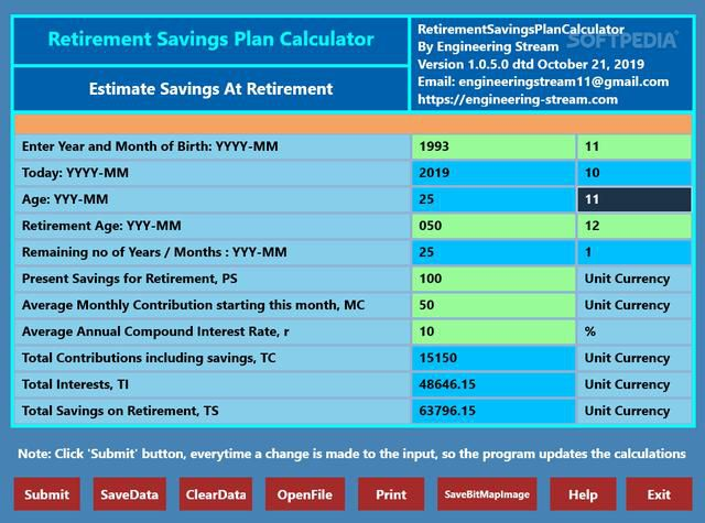 Download Retirement Savings Plan Calculator 1.0.5.0
